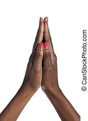 orando, Womans, mãos