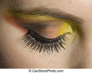 a woman with eyeshadow makeup