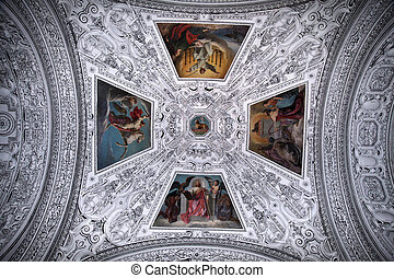 Ceiling and dome in Salzburg Cathedral , Austria