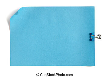 blue paper with curled edge and clip