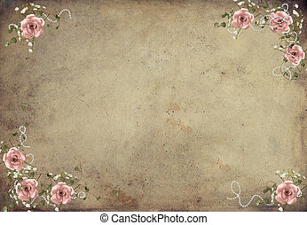 vintage roses - Vintage pink roses on grungy textured...