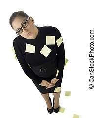 businesswoman filled up with post it notes - Portrait of...