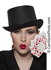 casino woman with pouting lips - Casino woman pouting her...