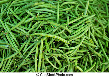 green beans in Market vegetables food textures pattern in...