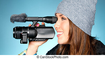 Hip Young Adult Female Points Video Camera - Horizontal...