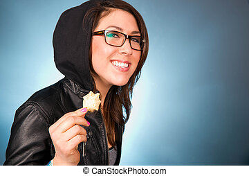 Young Woman Smiles While Chewing a Bite of Chips