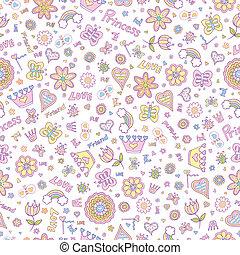 Springtime Seamless Pattern - Springtime Princess Seamless...