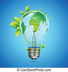 Green Innovation - illustration of globe on bulb with...