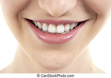 female lips with toothy smile - Close up image of female...