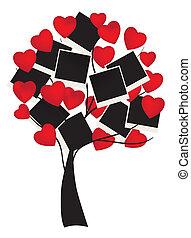 heart tree - vector tree with hearts and photos
