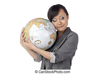 pretty asian lady with globe - Portrait of petty asian lady...