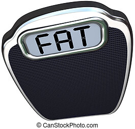 Fat Word on Scale Heavy Overweight Obese - The word Fat on...