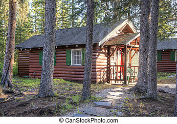 Log cabin in woodland setting
