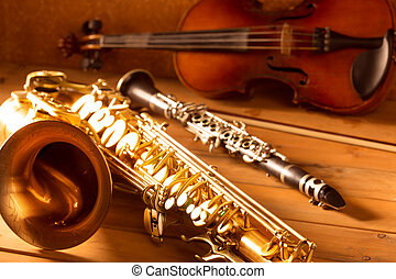 Classic music Sax tenor saxophone violin and clarinet...