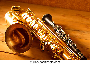 Classic music Sax tenor saxophone and clarinet vintage -...