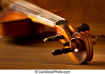 Classic music violin vintage in wooden background - Classic...