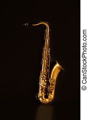 Sax golden tenor saxophone in black background
