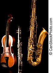 Music Sax tenor saxophone violin and clarinet in black...