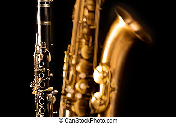 Classic music Sax tenor saxophone and clarinet in black...