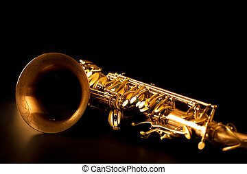 zlatý, makro, ohnisko, výběrový, saxofon, smysl, saxofon