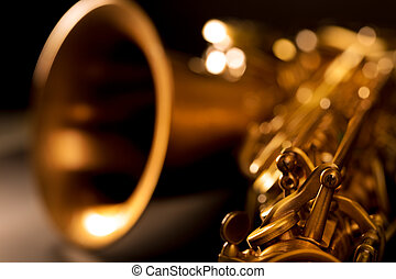 dourado,  macro, foco, seletivo, saxofone,  Tenor,  Sax
