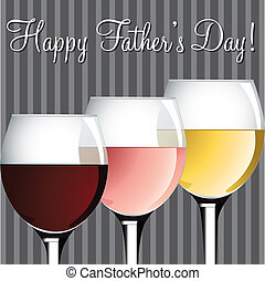 Happy Fathers Day - Wine theme Fathers Day card in vector...