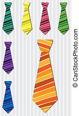 Tie Set - Bright stripe silk tie stickers in vector format.