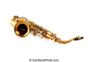Tenor, Sax, dourado, saxofone, isolado, branca