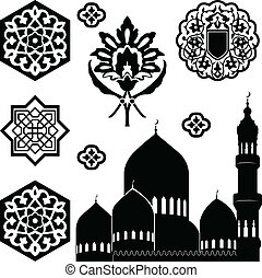 Islamic ornaments - Vector set of Islamic ornaments on white...