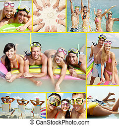 Scuba divers - Collage of happy friends spending summer...