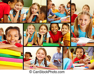 Classmates in school - Collage of smart schoolchildren at...