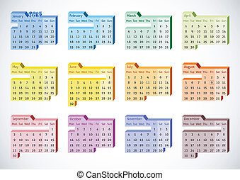 2013 Perspective Calendar english - 2013 Vector Calendar...