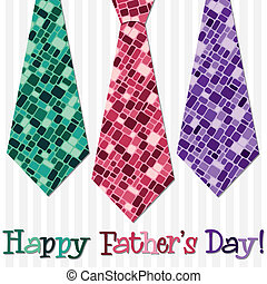Happy Fathers Day - Bright Happy Fathers Day neck tie card...