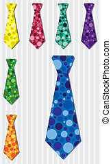 Tie Set - Bright bubble silk tie stickers in vector format