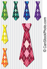 Tie Set - Bright plaid silk tie stickers in vector format.
