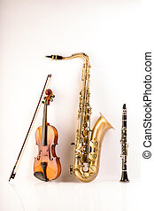 Sax tenor saxophone violin and clarinet in white - Music Sax...