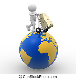 Delivery - 3d people - man, person with a hand truck and...