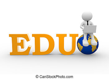 EDU - 3d people - man, person with a laptop and earth globe...
