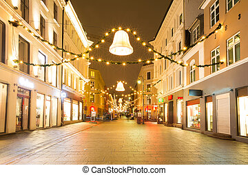 Oslo Downtown at Night - Oslo Downtown walking street at...