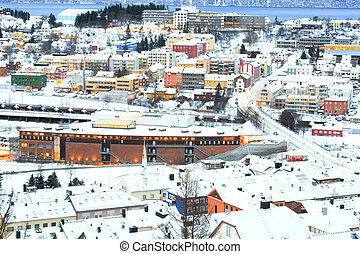 Winter Narvik Cityscape at dusk Norway - Aerial view of...