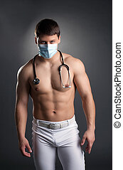 Sexy dancer in doctor costume with stethoscope - Sexy dancer...