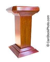 Oak podium isolated on white background
