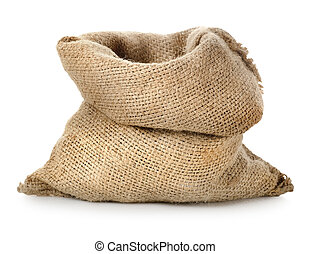 Empty burlap sack isolated on a white background
