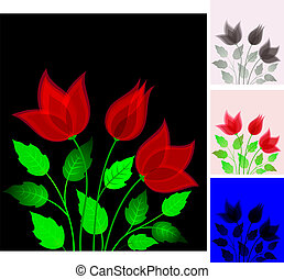 Red flowers - Beautiful red flowers on a black background...