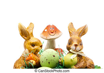 Easter bunny with ceramic mushroom