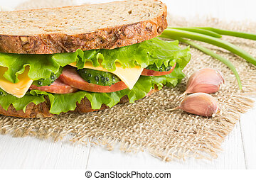 Sandwich with ham and cheese - Sandwich with ham, cheese and...