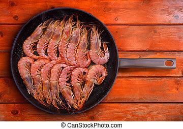 grelhados, camarão, marisco, redondo, panela