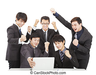 happy young business team  in the office