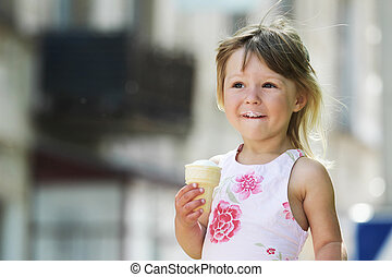 girl eating ice cream - little girl eating ice cream