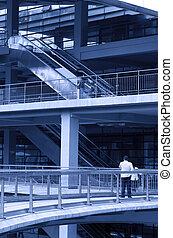 Escalator in skyscraper